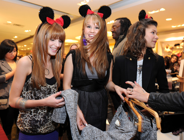 Zendaya Coleman (L-R) Actresses Bella Thorne, Debby Ryan and Zendaya Coleman attend the Minnie Muse Collection Launch at the Forever 21 in Hollywood and Highland on November 16, 2010 in Hollywood, California.