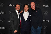 (L-R) Julien Tornare, CEO of Zenith, Singer Eason Chan and Jean-Claude Biver, president of LVMH watch division, attend the Zenith press conference during the Baselworld 2019 watch trade fair on March 20, 2019 in Basel, Switzerland. The Baselworld trade show runs from March 21-26.