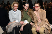 (L-R) Sunrise Coigney, Jenna Lyons and Courtney Crangi attend the Zero + Maria Cornejo fashion show during New York Fashion Week at Pier 59 on February 13, 2017 in New York City.