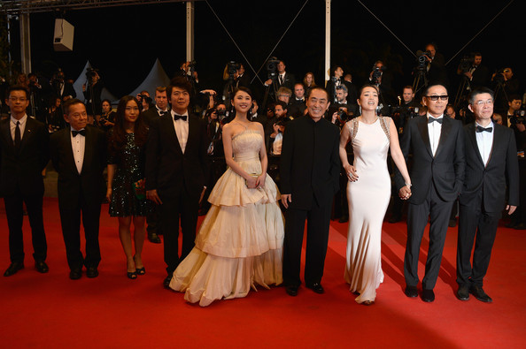 'Coming Home' Premieres at Cannes [red carpet,carpet,event,flooring,premiere,fashion,dress,ceremony,formal wear,suit,zhang huiwen,chen daoming,zhang zhao,zhang yimou,gong li,gui lai,coming home premieres,l-r,cannes,premiere]