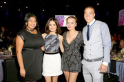 (L-R) Actors Punam Patel, Lucy Hale, Jordan Hinson, and Matt Murray attend the Zimmer Children's Museum Discovery Award Dinner at The Globe Theatre on November 12, 2015 in Universal City, California.