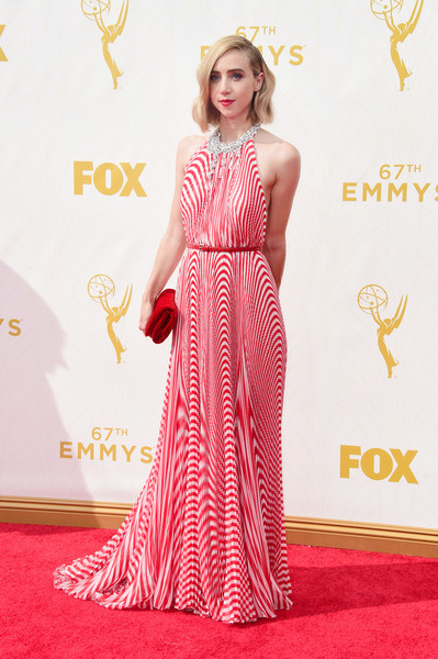 67th Annual Primetime Emmy Awards - Arrivals [clothing,red carpet,dress,carpet,fashion model,gown,flooring,shoulder,fashion,premiere,arrivals,zoe kazan,microsoft theater,los angeles,california,primetime emmy awards]