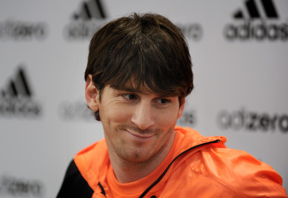 lionel messi 2011 barca. Lionel Messi attends a press