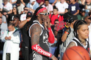 2 Chainz on the court during adidas Creates 747 Warehouse St., an event in basketball culture, on February 16, 2018 in Los Angeles, California.