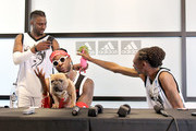 (L-R) 2 Chainz, his dog Trappy, and Snoop Dogg speak during a press conference at adidas Creates 747 Warehouse St., an event in basketball culture, on February 16, 2018 in Los Angeles, California.