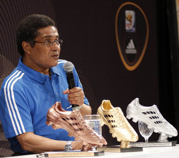 Eusebio Ferreira da Silva during a media event discussing the Golden Boot comptetition in the FIFA 2010 World Cup held at the adidas Jo'bulani Central in Sandton Convention Centre on July 1, 2010 in Johannesburg, South Africa.