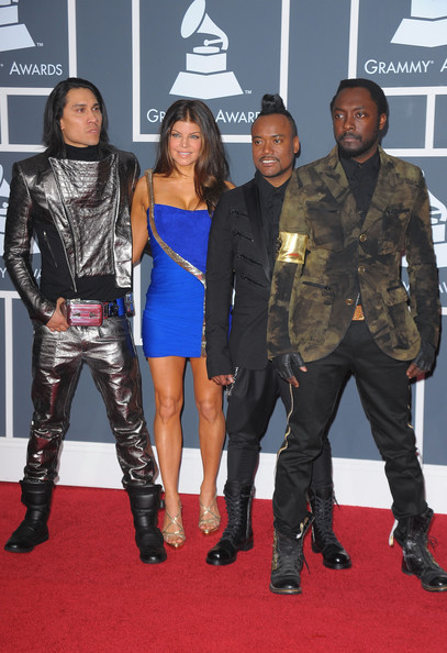 52nd Annual GRAMMY Awards - Arrivals [carpet,red carpet,premiere,outerwear,footwear,leather,event,flooring,costume,fictional character,arrivals,l-r musicians taboo,stacy fergie ferguson,will.i.am,staples center,california,los angeles,ap,black eyed peas,52nd annual grammy awards]