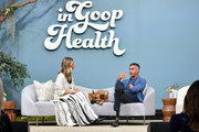 (L-R) Gwyneth Paltrow and BJ Miller speak onstage during the In goop Health Summit San Francisco 2019 at Craneway Pavilion on November 16, 2019 in Richmond, California.