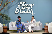 (L-R) goop chief content officer Elise Loehnen and Sophia Bush speak onstage at the In goop Health Summit San Francisco 2019 at Craneway Pavilion on November 16, 2019 in Richmond, California.