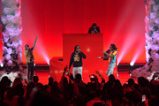 (L-R) Offset, Quavo, and Takeoff of Migos perform onstage at iHeartRadio album release party with Migos presented by MAGNUM Large Size Condoms at iHeartRadio Theater on January 22, 2018 in Burbank, California.