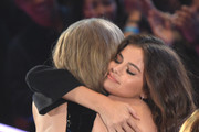 Recording artists Taylor Swift (L) and Selena Gomez attend the iHeartRadio Music Awards which broadcasted live on TBS, TNT, AND TRUTV from The Forum on April 3, 2016 in Inglewood, California.