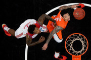 Deon Thompson of FC Bayern Muenchen and Chris Babb of Ulm look for the ball during the Eurocup Basketball match between ratiopharm Ulm and FC Bayern Muenchen at ratiopharm Arena on February 10, 2016 in Ulm, Germany.