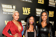 "(L-R) Eva Marcille, Kandi Burruss, and Kenya Moore attend the premiere of ""Waka & Tammy: What The Flocka"" at Republic on March 10, 2020 in Atlanta, Georgia."