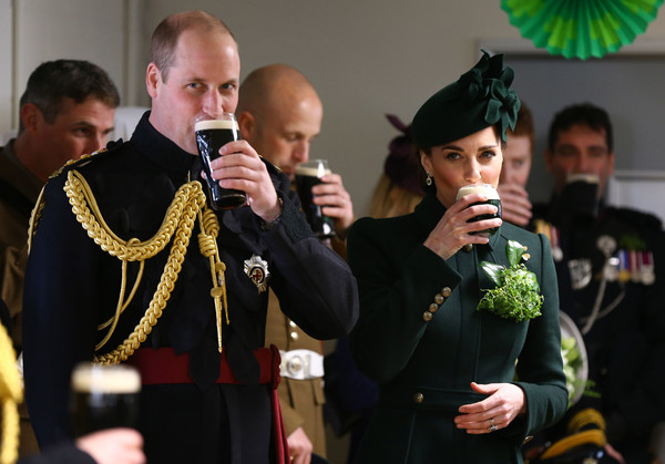 The Royal Week - March 18 [event,tradition,military officer,military,uniform,ceremony,non-commissioned officer,gesture,military rank,army,wiliam,catherine,duchess,hounslow,cambridge,cavalry barracks,irish guards,royal week,parade,st patricks day]