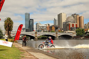Australian FMX rider Robbie Maddison rides his motorbike along the surface of the Yarra River on December 22, 2016 in Melbourne, Australia. The xXxTreme Yarra River Ride is inspired by a major stunt from the film xXx: Return of Xander Cage which Robbie was the lead stunt rider. xXx: Return of Xander Cage will be in Australian cinemas from January 19, 2017.