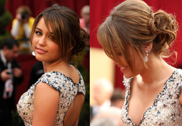 Miley's formal hairstyles are all excellent choices for elegant prom