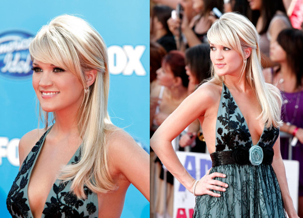 Carrie wore her hair straight and half-up, half-down for the American Idol