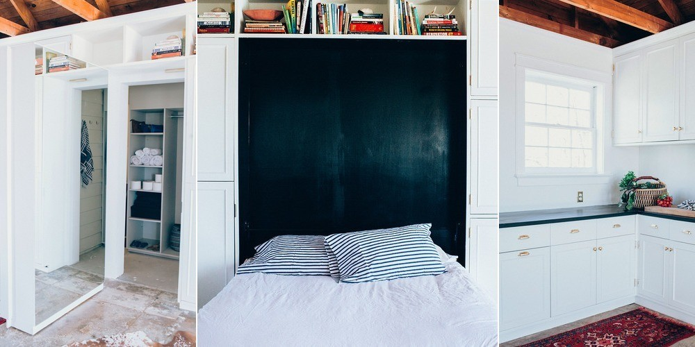 Warner's sequestered storage solution houses a queen-sized Murphy bed, a secret room, and other household items. The cabinet color was a custom white from Sherwin-Williams, and the hardware is from House of Antique Hardware