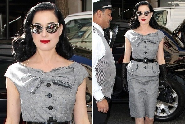 Look of the Day: Dita Von Teese's Bowed Skirt Suit
