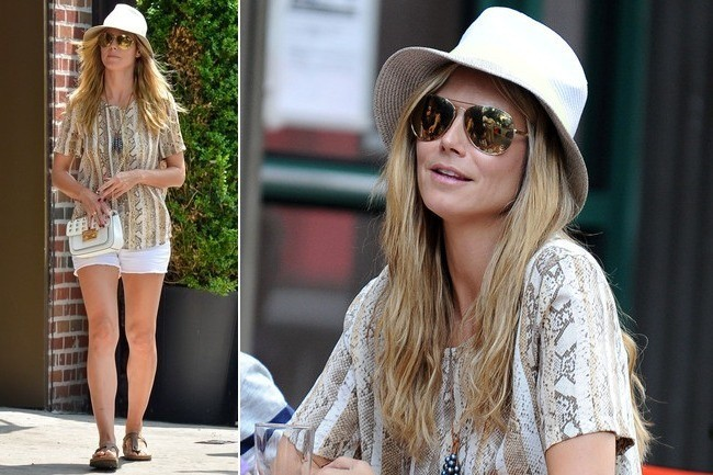 Heidi Klum Goes Cute and Casual in Snake Print