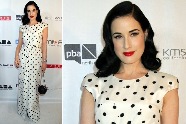 Dita Von Teese Goes Retro Glam in Polka-Dots