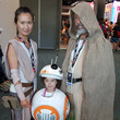 Rey, BB-8, and Luke Skywalker