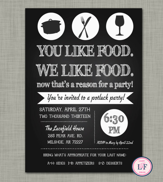 Potluck Wedding Reception Invitation Wording for perfect invitations example