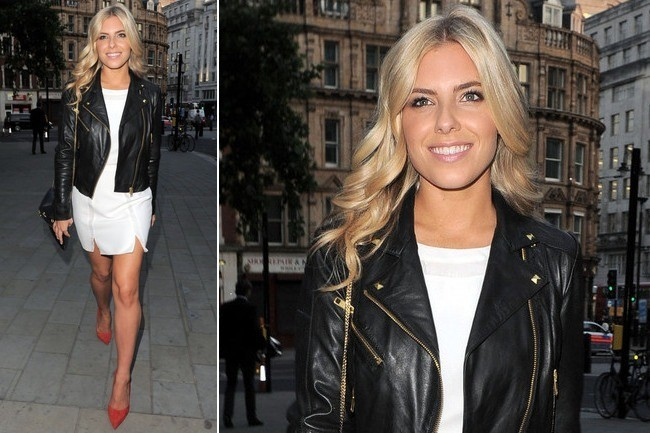 Mollie King's Moto-Chic Evening Outfit