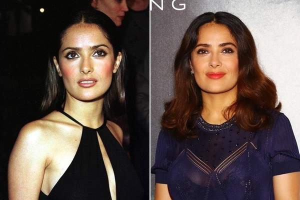 Salma Hayek (1999) and Salma Hayek (2016)