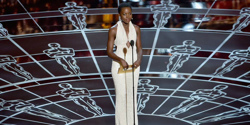 Actress Lupita Nyong'o presents onstage during the 87th Annual Academy Award.