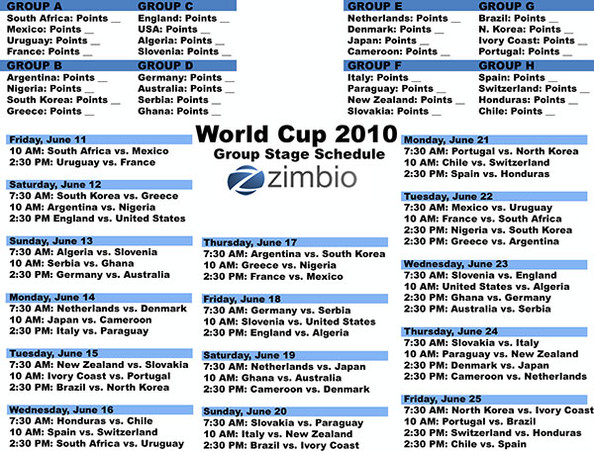 picture relating to World Cup Printable Schedule identify Printable Planet Cup Timetable (FIFA 2010) - 2010 World-wide Cup