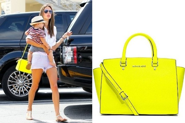 Obsession of the Day: Alessandra Ambrosio's Neon Yellow Shoulder Bag