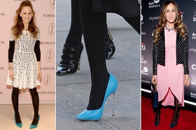 Perfect Pairing: Black Tights with Blue Pumps