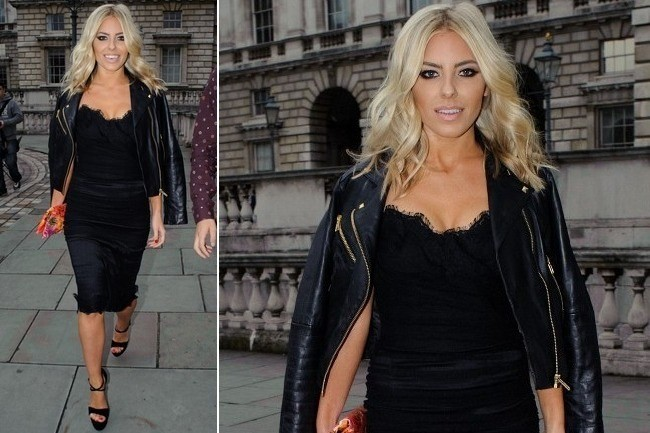 Mollie King's Moto Jacket and Lace LBD