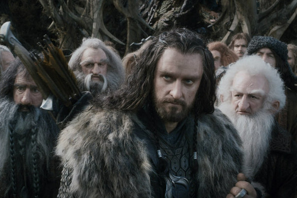 Thorin Oakenshield and his company of dwarfs.