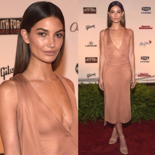 lily aldridge wore a gorgeous nude dress celebrity social media