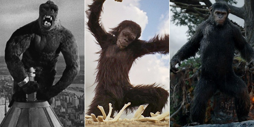 'King Kong' (1933), '2001: A Space Odyssey' (1968), 'Dawn of the Planet of the Apes' (2014).