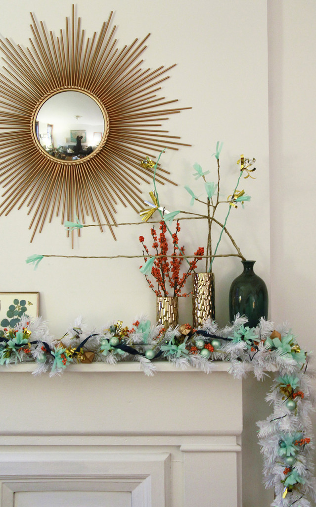 A White-and-Mint-Green Garland for the Mantel