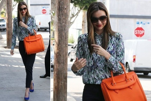 Miranda Kerr's Print Blouse and Citrus Bag