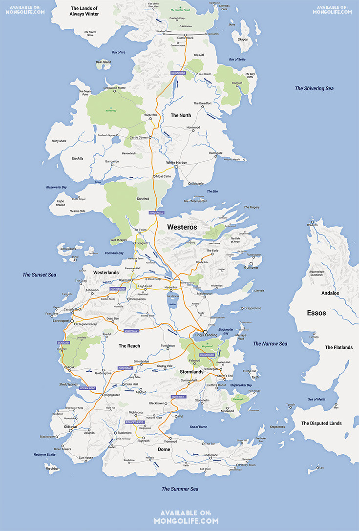 This Google Map of Westeros Clears Up Some 'Game of Thrones' Geography Questions