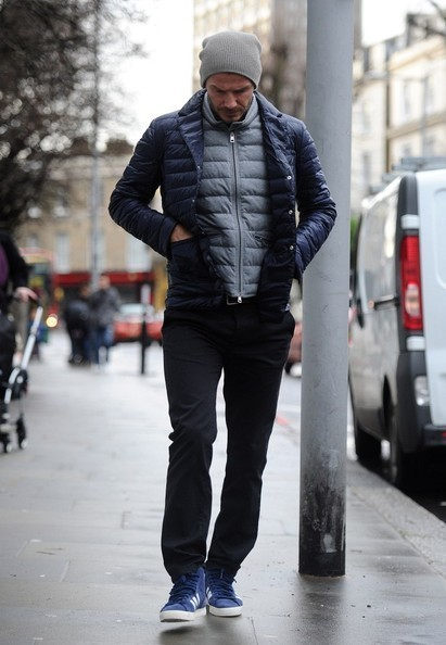 David Beckham Sports the Double Puffer Coat Look