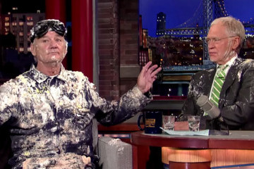 Bill Murray Popped Out of a Giant Cake on 'Letterman'