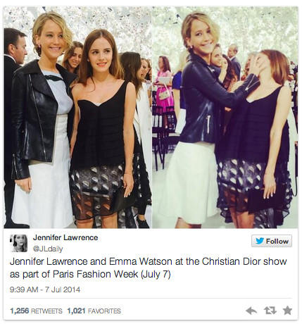 Here's What Happens When Jennifer Lawrence and Emma Watson Meet