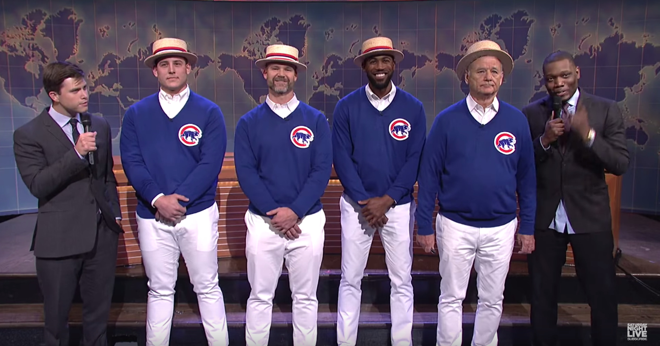 Bill Murray Sings 'Go Cubs Go' With Baseball Team's Star Players on 'SNL'