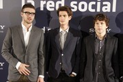 """Actors Justin Timberlake, Andrew Garfield and Jesse Eisenberg attend the photocall for """"The Social Network"""" in Madrid."""