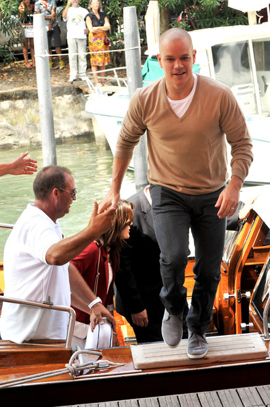 Actor Matt Damon arrives by Gondola and then poses at the 'Contagion' photo call during the 68th Venice Film Festival at the Palazzo del Cinema on September 3, 2011 in Venice, Italy.