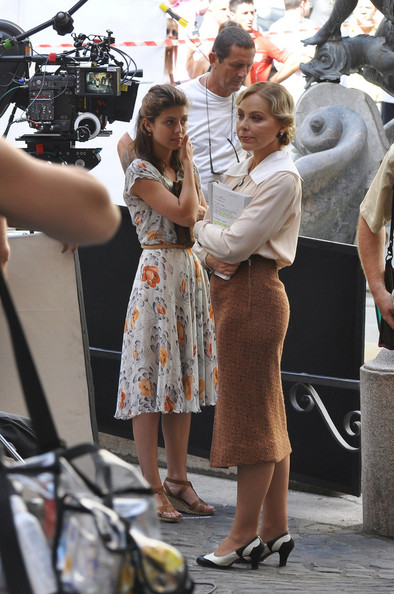 "Actresses Ornella Muti and Alessandra Mastronardi on set of the new Woody Allen movie ""Bop Decameron"" in Italy."