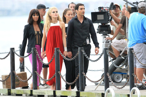 "Actors Ramon Rodriguez, Annie Ilonzeh and Rachael Taylor film a scene for the new TV show ""Charlie's Angels"" in Miami."