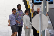 Adam Scott, Rob Corddry, Craig Robinson and Clark Duke film scenes for the 'Hot Tub Time Machine 2' at the One Shell Square building in New Orleans.