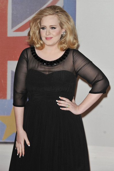 Adele Adele makes her arrival at the Brit Awards 2012 held at the O2 Arena in  Greenwich, London.